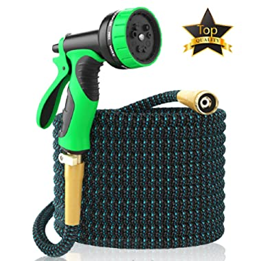 2018 Expandable Garden Hose 50Ft Extra Strong – Brass Connectors with Protectors 100% No-Rust & Leak, 9-Way Spray Nozzle - Best Water Hose for Pocket Use - 100% Flexible Expanding up to 50 ft