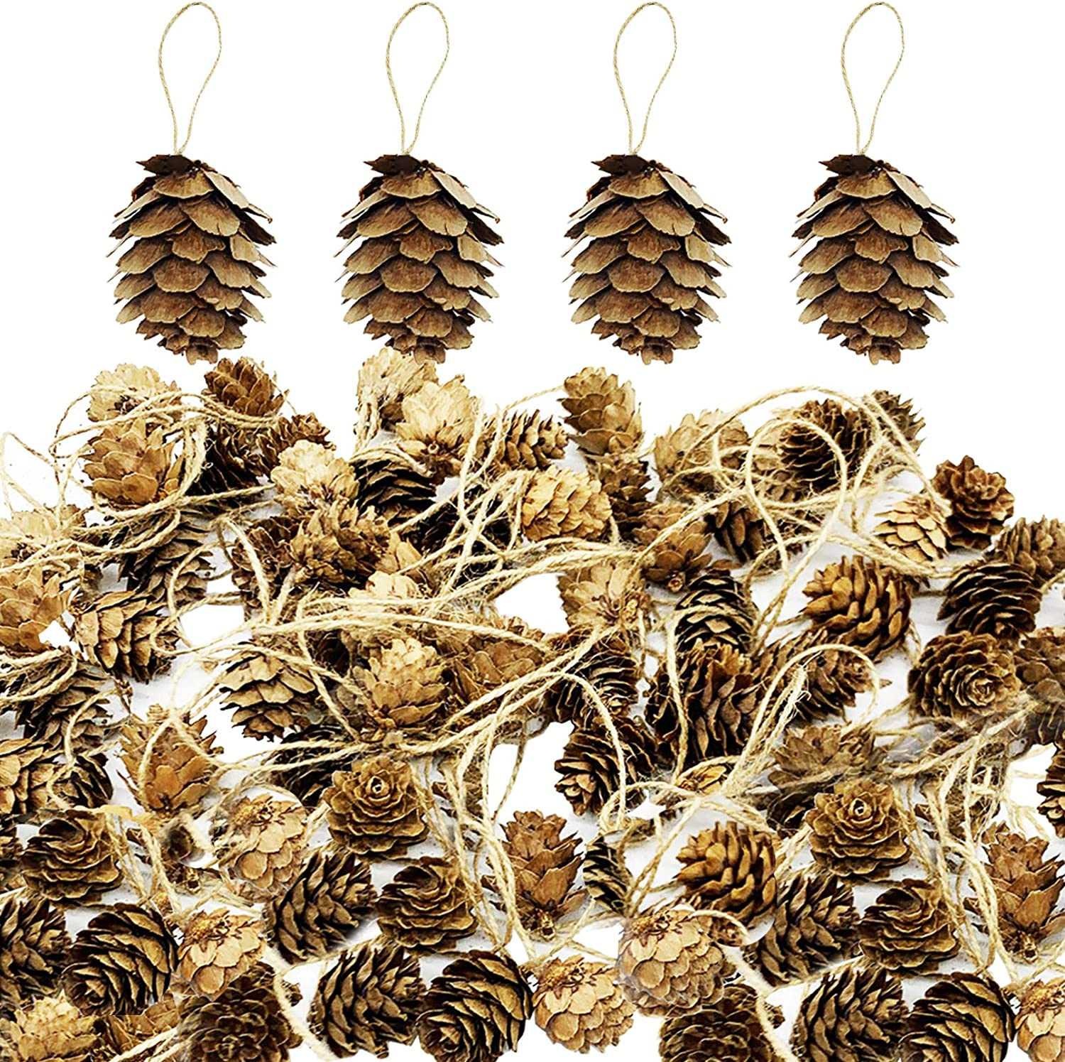 Delokey Thanksgiving Natural Mini Hanging Pine Cones with String-Christmas Tree Hanging Pinecone Ornaments for DIY Crafts, Home Decorations,Fall and Thanksgiving,Wedding Decor (80pcs)