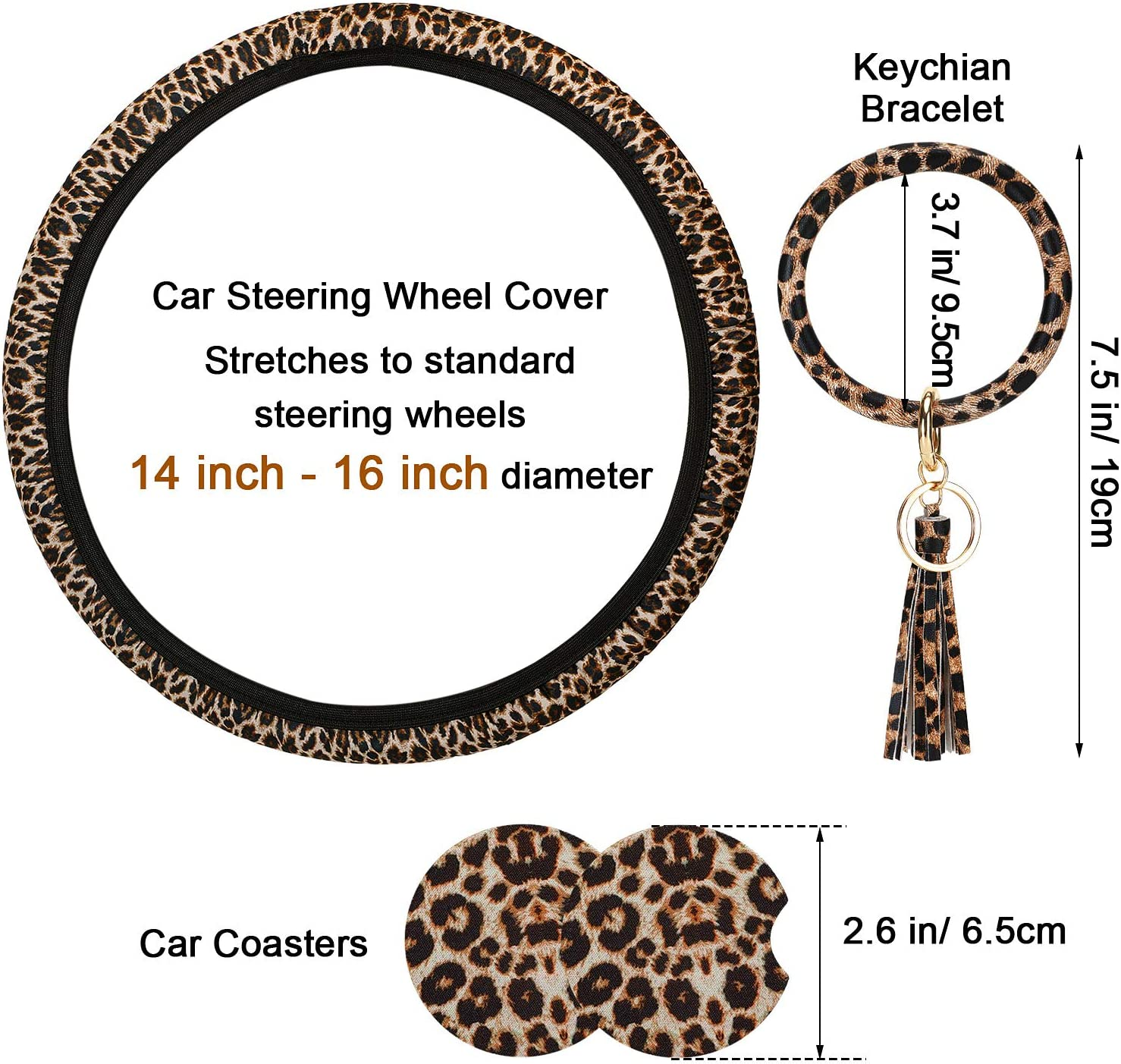 Steering Accessories 4 Pieces Leopard Print Car Accessories Set ...