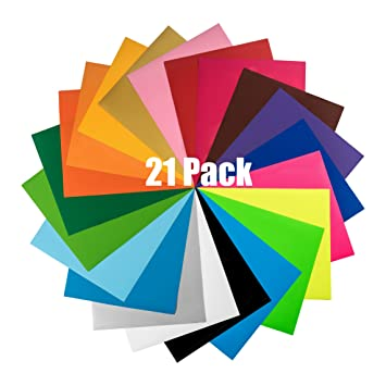 heat transfer vinyl htv sheets 21 color bundle pack multi colors - Cricut Vinyl Colors