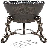 La Hacienda Volta Cast Iron Firepit with Cooking Grill, Bronze Effect, 56259
