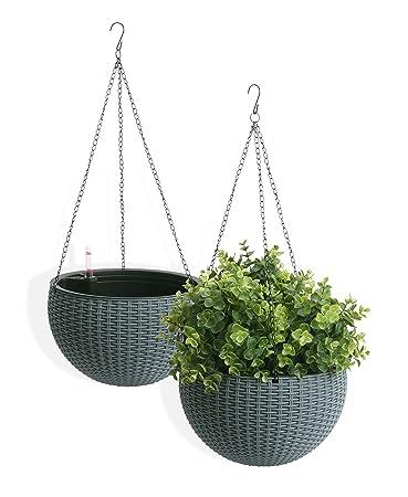 Amazon Com Algreen Self Watering Wicker Hanging Planter 2 Pack