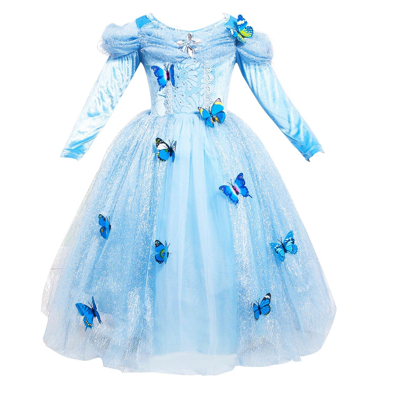 Le SSara Long Sleeve Girl Princess Cosplay Costume Blue Fancy
