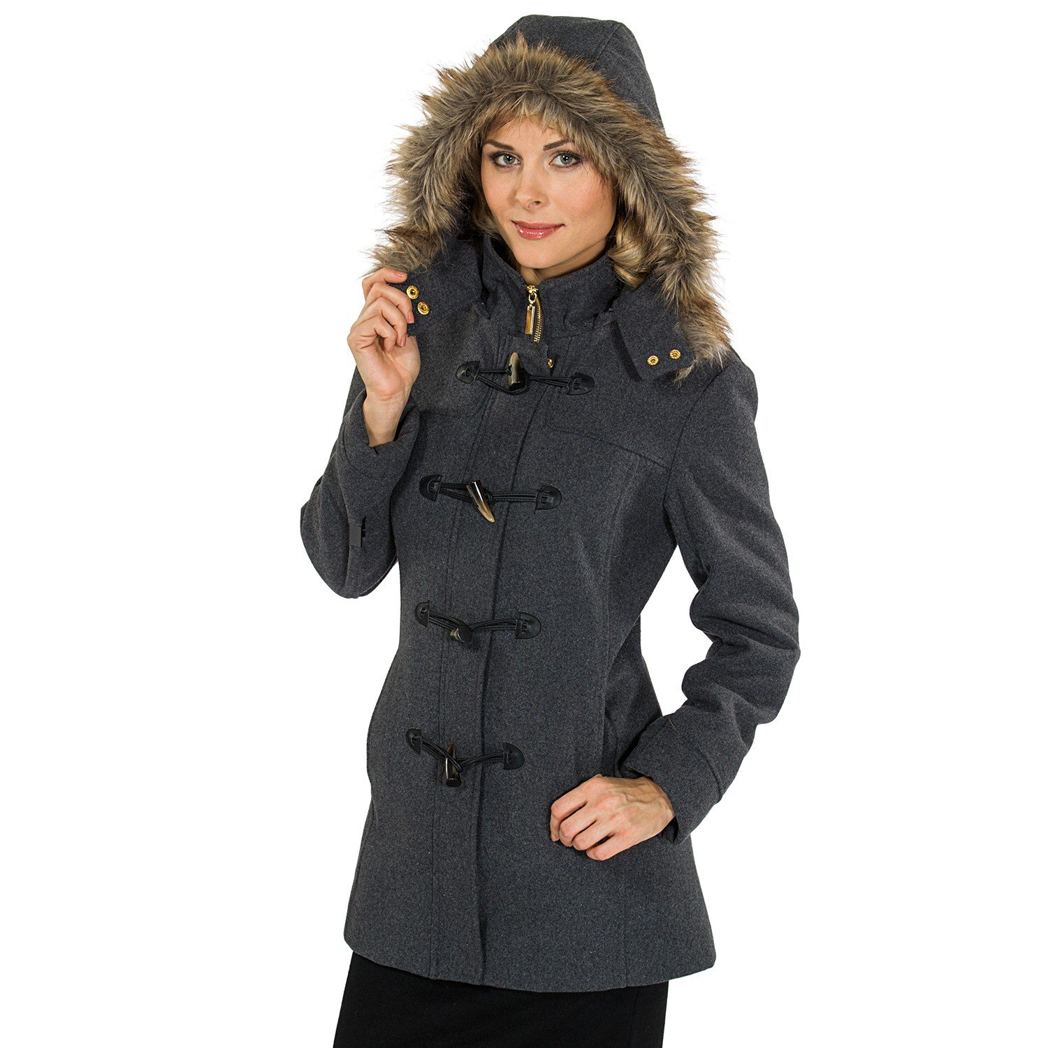 alpine swiss Women's AS709 Duffy Wool Coat Fur Trim Hooded Parka Jacket