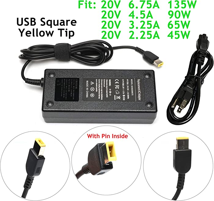 135W 20V 6.75A Square Power Adapter Charger for Lenovo IdeaPad Y700 Y700-15ISK 720-15IKB Y40-70 Y50-70 Y70-70 Z710,ThinkPad T440P T450P T460P T470P T530 T540 T540P T560 W510 W540 P50 ADL135NDC3A
