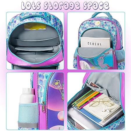 Spring Country Girls Backpack for School Mermaid Glitter Children Casual Daypack Book Bag Rucksack