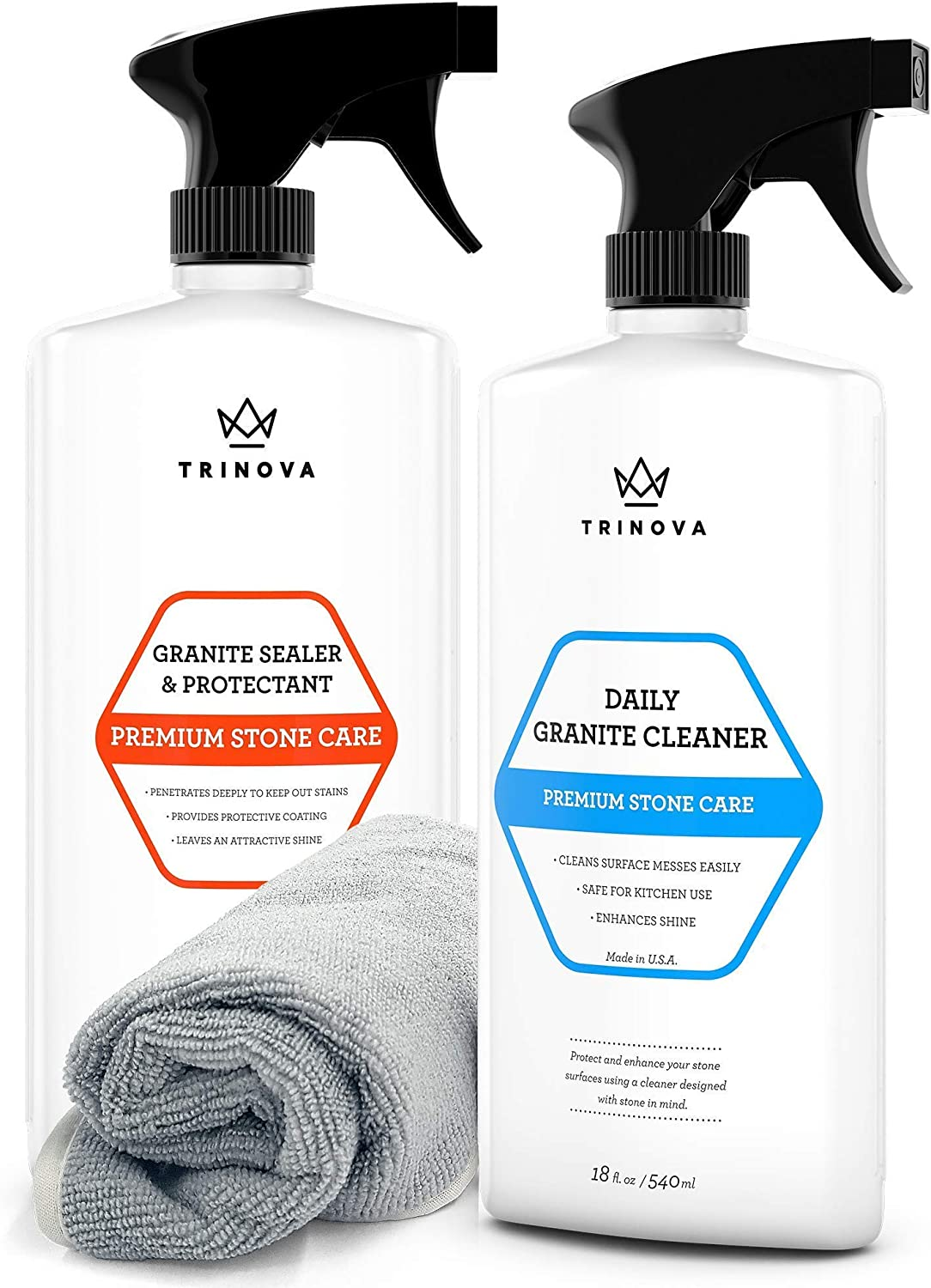 TriNova Granite Cleaner and Granite Sealer Bundle Pack - Cleans Grime & Grease, Enhances Shine & Protects Your Granite, Marble, and Quartz Countertops