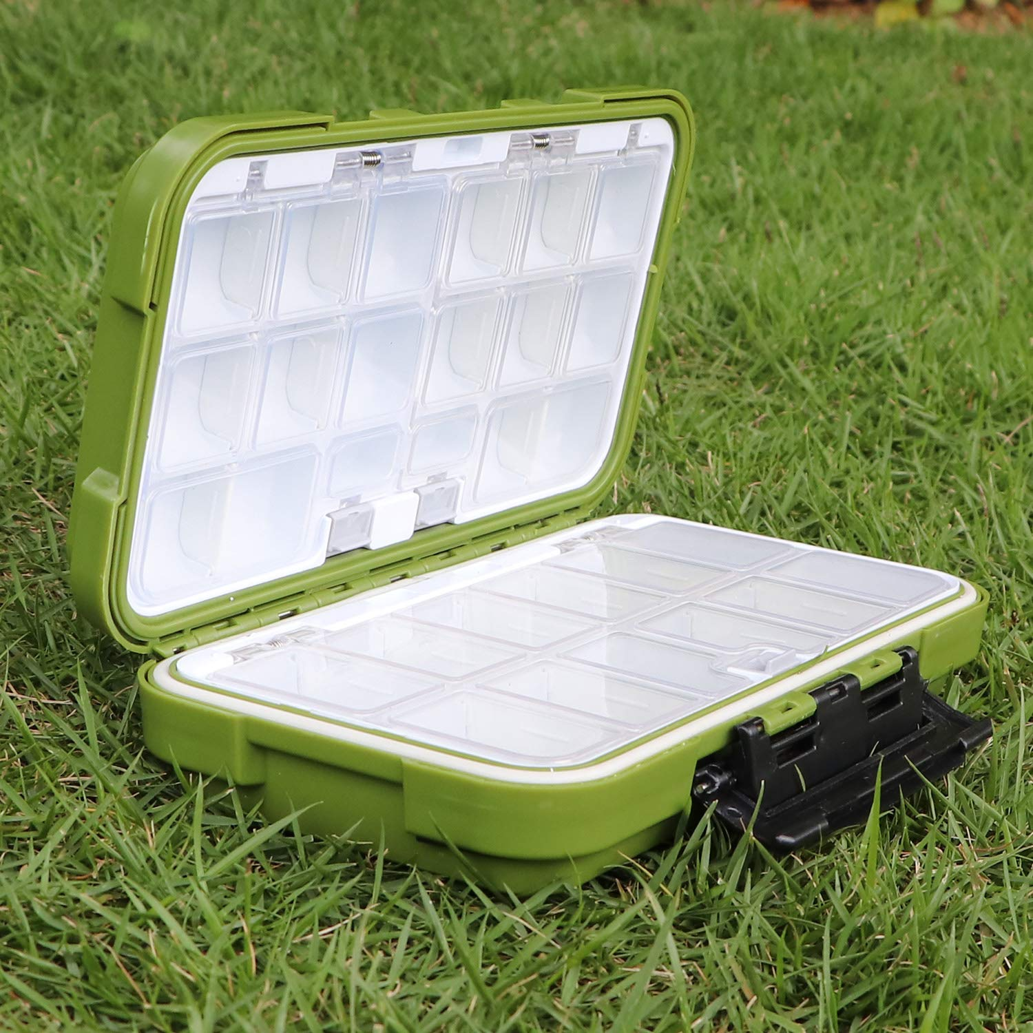 Keeshine Compact Waterproof Fishing Tackle Box Plastic Fishing Lure Box Removable Grid Fishing Tackle Storage for Fishing Lure//Hook Jewelry Beads Earring Container Tool Storage Box