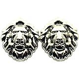 Boucles d'oreilles en forme de tête de lion, ton argent HYER-1R