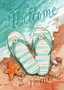 "Briarwood Lane Coastal Flip Flop Summer Garden Flag Welcome Shore 12.5"" x 18"""