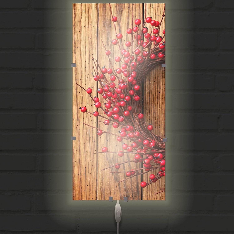 Wandlampe:Nur Wechselbild banjado Glas Wandleuchte Wandbeleuchtung mit Schalter Wandlampe 26cm x 56cm Leuchte mit Motiv Weihnachtskranz Design LED Leuchte Innen