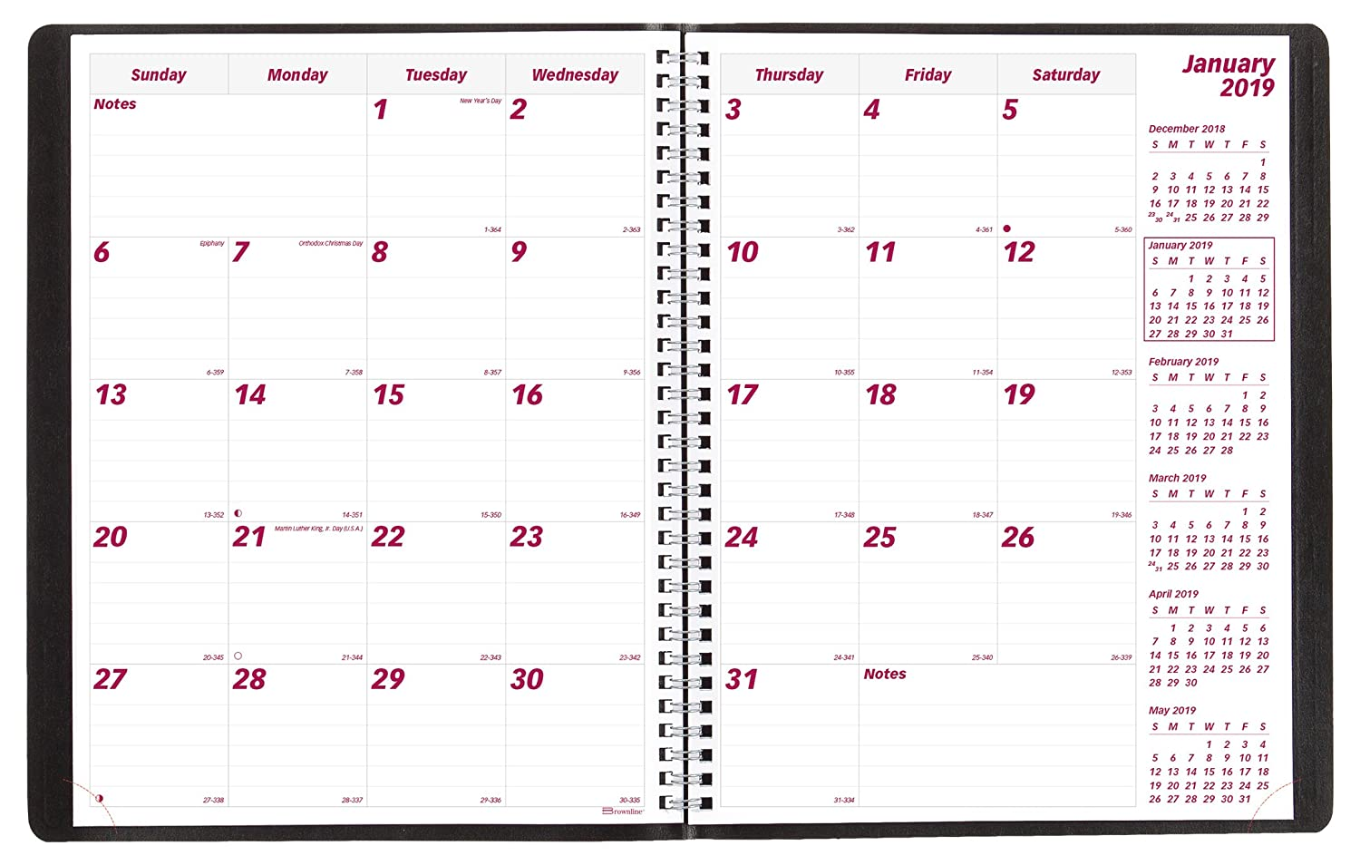 Brownline 2017 16-Month Planner, English, 11-Inch by 8-1/2-Inch Blueline Canada CB1260.BLK-17