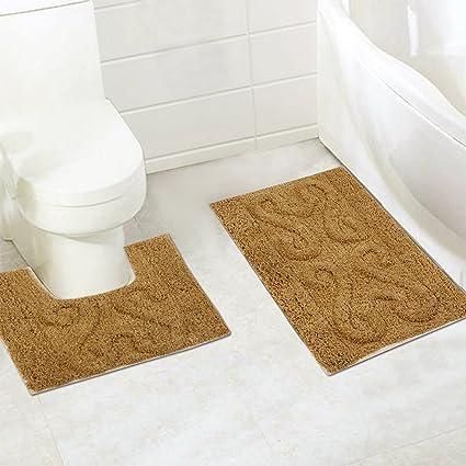 Home Candy Coral Solid 2 Piece Cotton Bath Mat Set - Brown