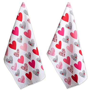 DII 100% Hearts Collage Dish Towels, Ultra-Absorbant, Machine Washable Perfect, Dishtowels,