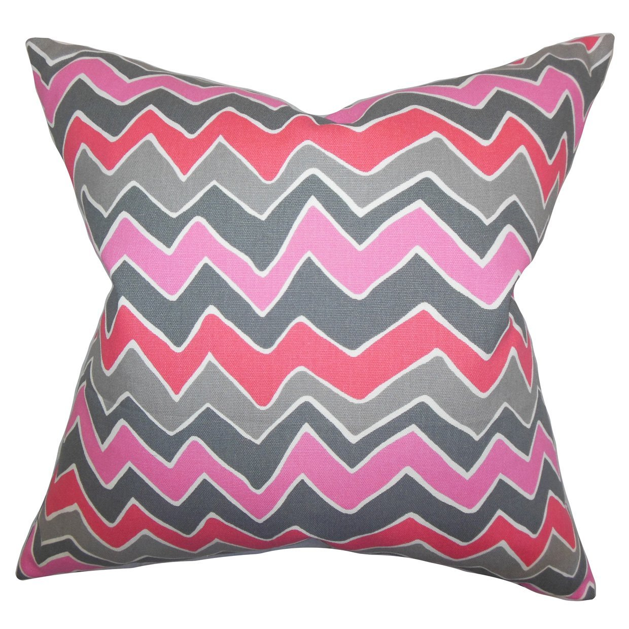 The Pillow Collection P18FLAT-PP-SEESAW-FLAMINGO-C100 Achsah Zigzag Throw Pillow Cover 18 x 18