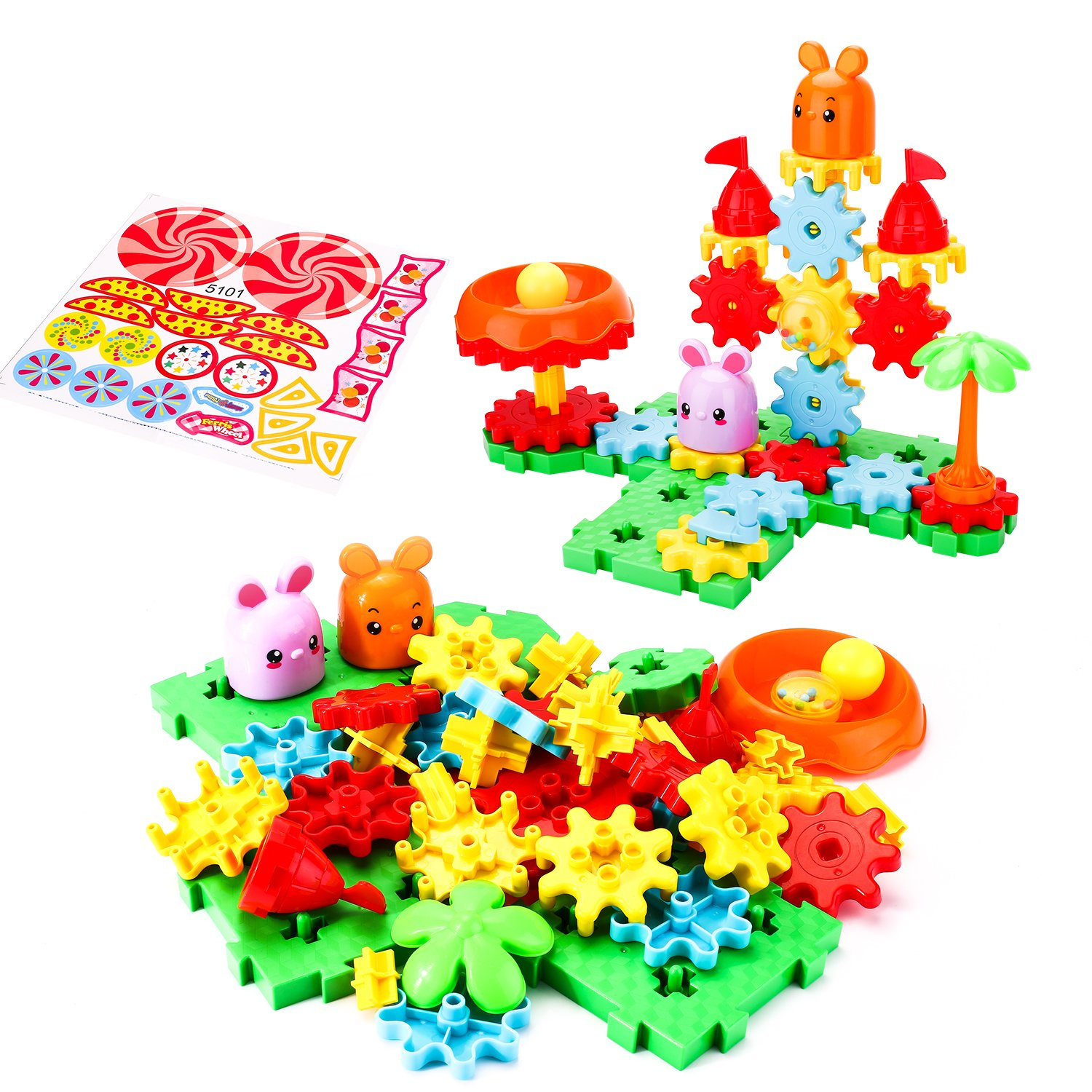 Biulotter Building Toy Set Educational Learning Stem Building Construction Toys 49 PCS Creative Engineering Tool 3+ Year Old Boys & Girls
