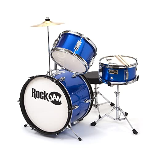RockJam 3-Piece Junior Drum Set with Crash Cymbal, Drumsticks, Adjustable Throne and Accessories - Blue