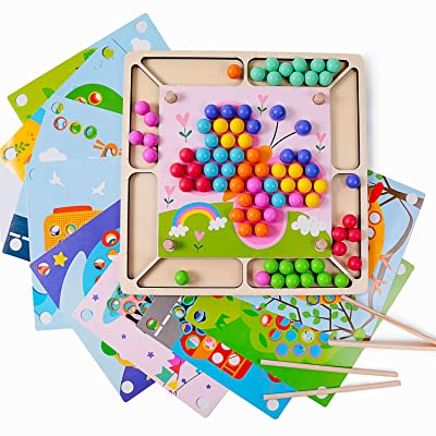 Rolimate Wooden Educational Montessori Toy Clip Bead Game Toddler Preschool Stacking Learning Toy Fine Motor Color Recognition Parent-Child Interaction Birthday Gift for 3 4 5+ Years Old Up Boys Girls: Toys & Games