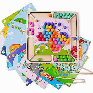 Juguetes de Madera NiñOs, Juego de Cuentas de Clip Rompecabezas Juguetes Educativos Montessori Manos Cerebro Entrenamiento, Regalo de cumpleaños para ...