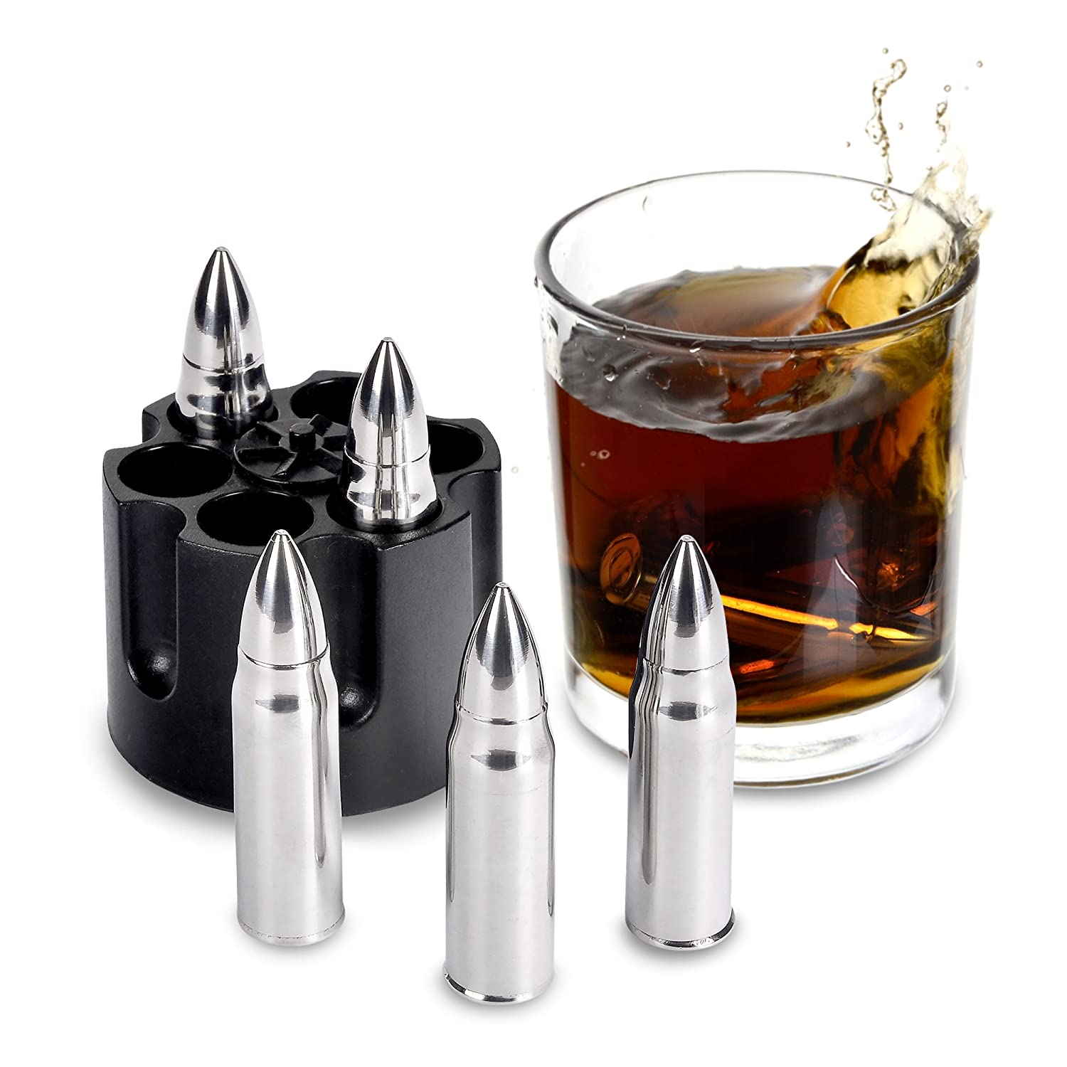 Whiskey Stones Gift Set - Stainless Steel Bullet Chillers - 6 Chilling Stones with Revolver Base - Long Lasting Taste - Perfect for Whiskey and Scotch Connoisseurs