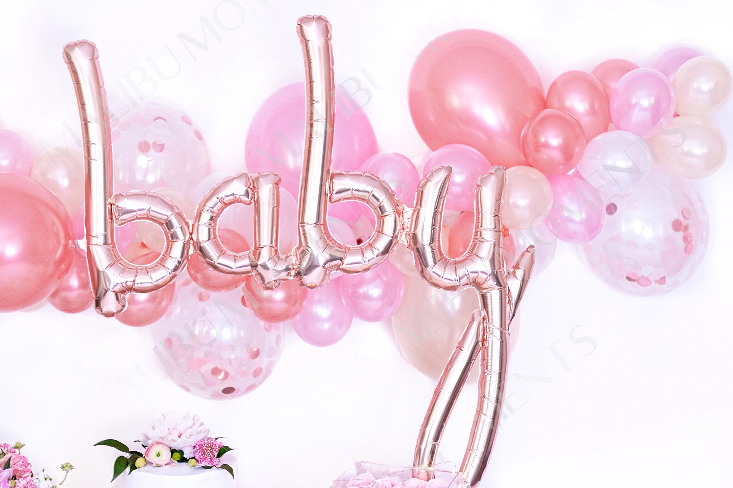 Baby Shower Decorations for Girl   Baby Girl Party Supplies  It's a Girl   Balloon Garland with 72 Balloons 11'' & 5'' Pink, Blush and Confetti with Rose Gold Baby Script Balloon (Pink) by Malibu Moments (Image #3)