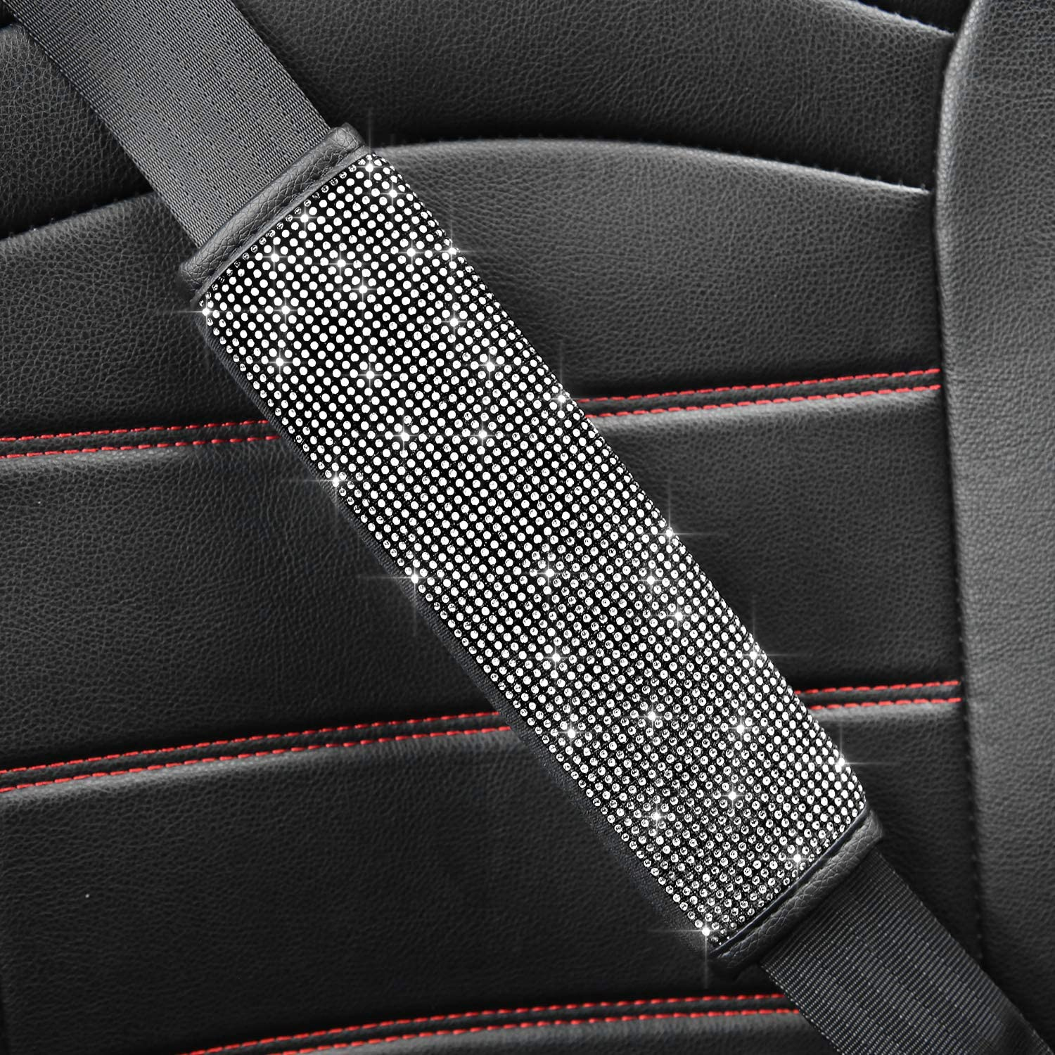 Silver Meserparts 2Pcs Bling Crystal Diamond Car Seat Belt Shoulder Pads Rhinestone Luster Handcraft Seatbelt Cover Bling Bling Auto Car Decoration Accessories Universal Fit for Women Girls