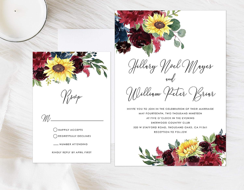 Wine Floral Wedding Invitation Burgundy Sunflower Wedding Invitation Marsala Wedding Invitation