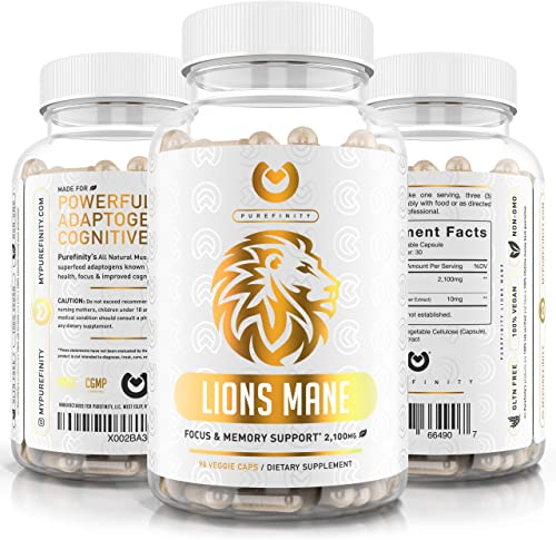 Lions Mane Mushroom Capsules – Max Strength 2100mg BioPerine – Advanced Nootropic Brain Supplement for Memory Focus Immune System Booster – 90 Vegan Capsules.