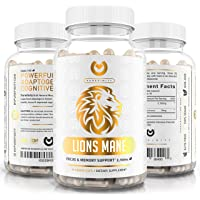 Lions Mane Mushroom Capsules - Max Strength 2100mg + BioPerine - Advanced Nootropic Brain Supplement for Memory & Focus…