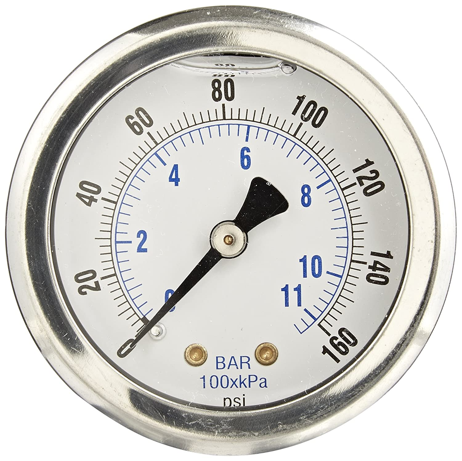 PIC Gauge 202L 204F 2 Dial 0 160 psi Range 1 4 Male NPT Connection Size Center Back Mount Glycerine Filled Pressure Gauge with a Stainless Steel Case Brass Internals Stainless Steel Bezel and Polycarbonate Lens