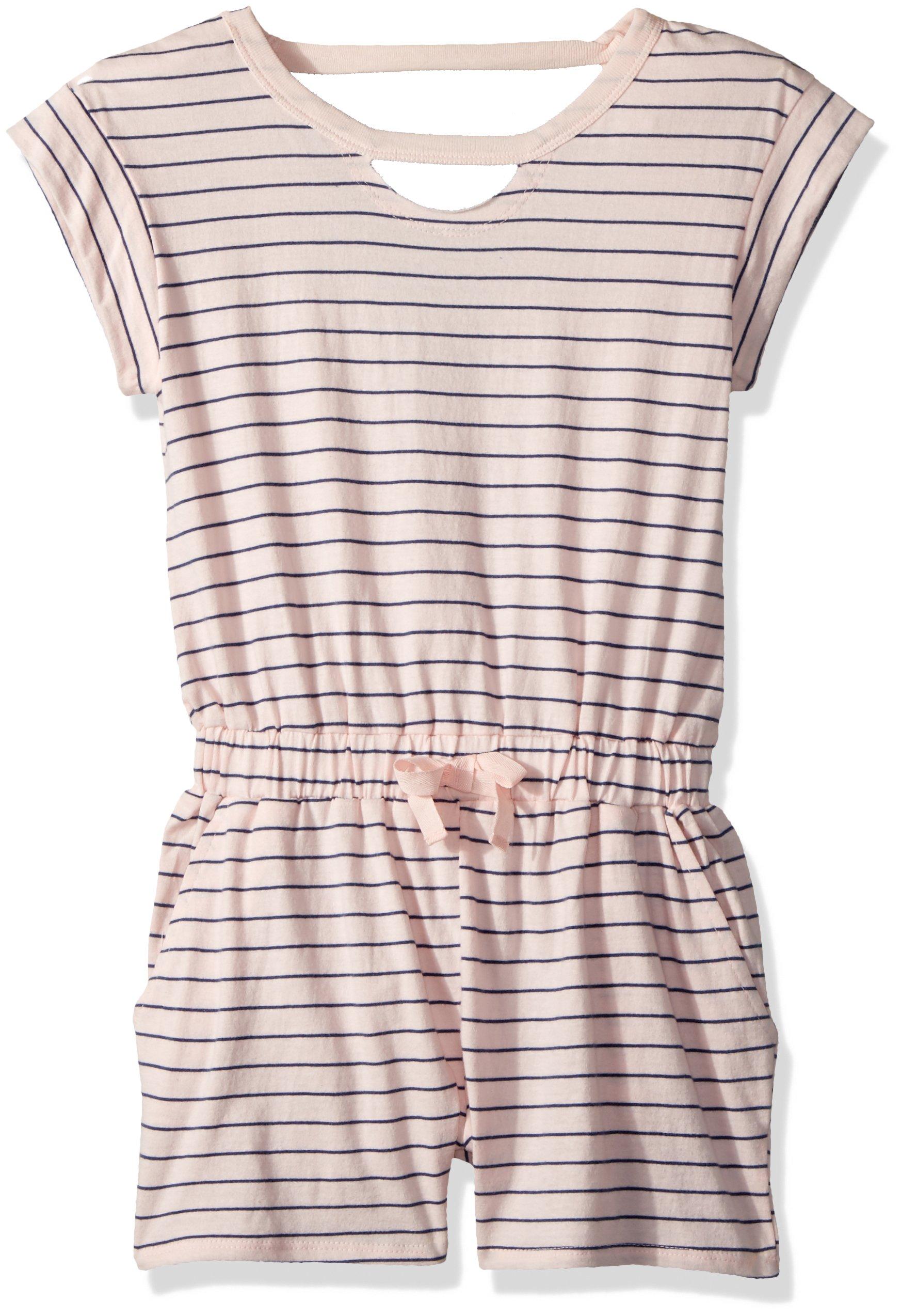 Splendid Big Girls' Yarn Dyed Stripe Romper, Seafoam Pink, 12