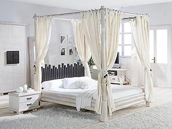 Metallbett 140x200 mit himmel  Himmelbett CABANA weiß - schwarz 140x200 Bett mit Himmel exotische ...
