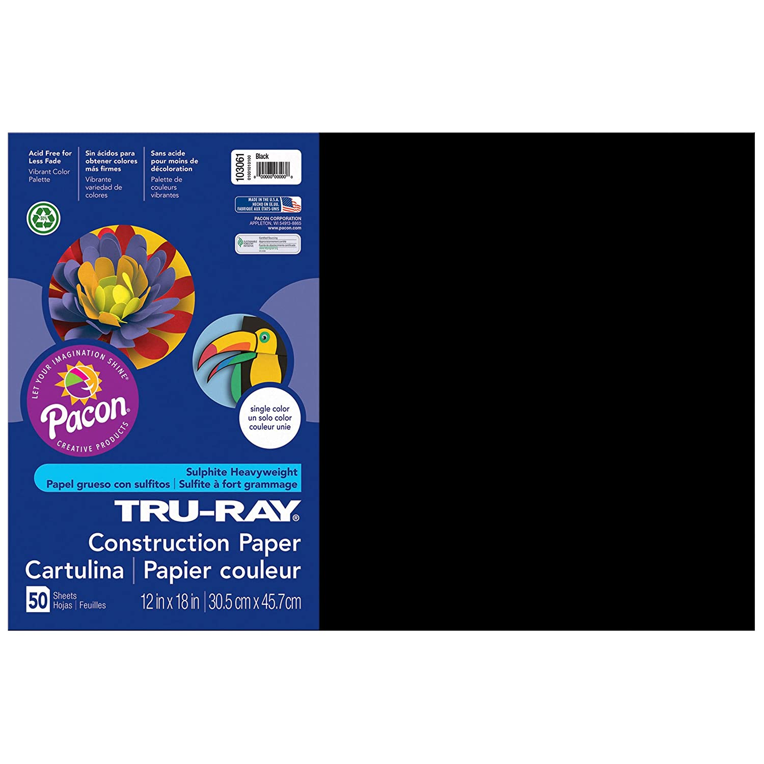 Tru-Ray PAC103061BN Construction Paper, Black, 12 x 18, 50 Sheets Per Pack, 5 Packs 12 x 18 PACON CORPORATION