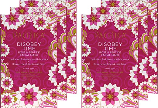 Pacifica Disobey Time Rose & Peptide Mask, 6 count