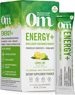 product image for Om Mushroom Superfood Drink Mix Packets, Energy Plus, Lemon Lime, 2.1 Ounce, Cordyceps, Yerba Mate, & Vitamin C, Immune Support Supplement