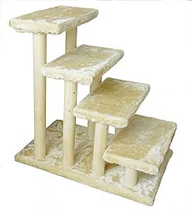 HAIBEIR Escalera de Madera para Mascotas, Escalera de 4 Pasos, escaleras para Perros y Gatos con Alfombra Desmontable para Cama Alta y sofá: Amazon.es: Productos para mascotas