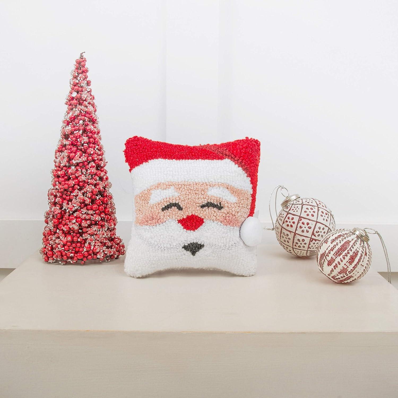 Happy Santa Hooked Christmas Pillow