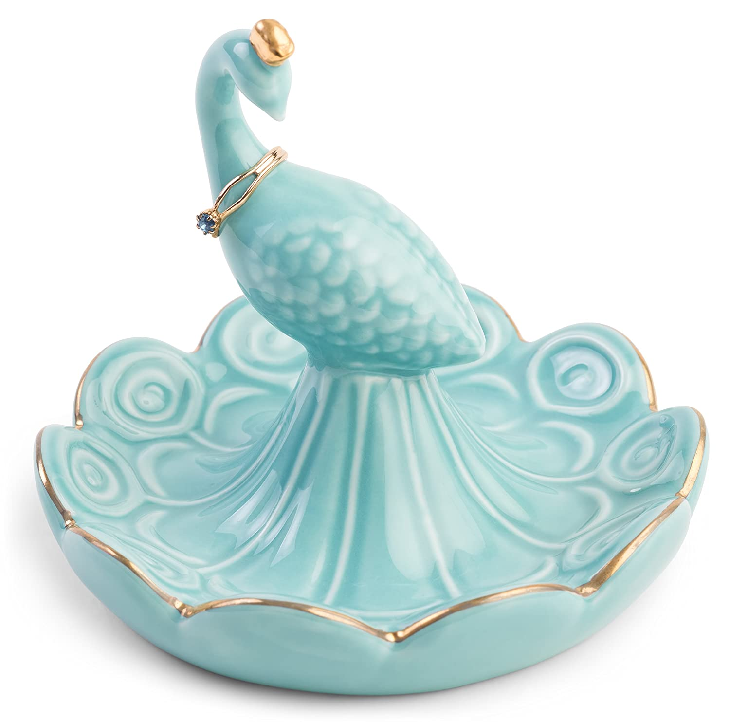 Monarch Housewares Peacock Ring Jewelry Holder – Aqua Blue and Gold Porcelain – Tray Trinket Coin Tidbit Dish Great Gift Item