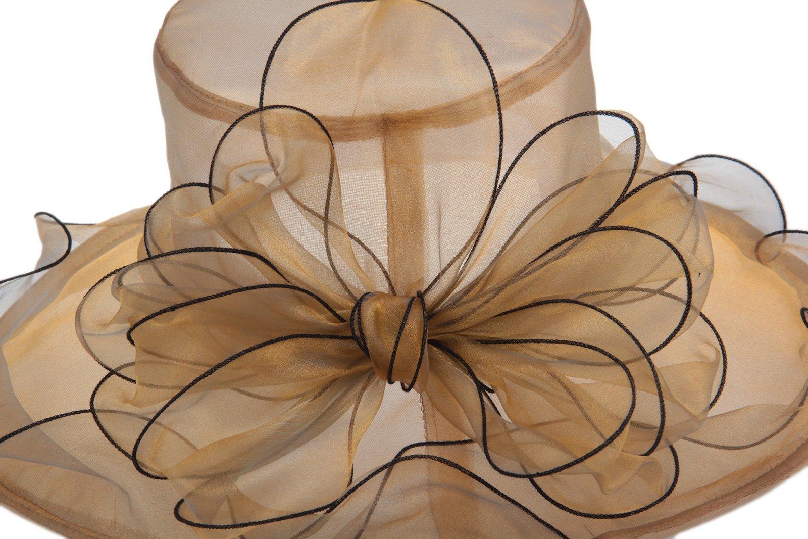 Dantiya Women's Organza Church Kentucky Derby Big Bowknot Fascinator Bridal Cap British (Gold) by Dantiya (Image #6)