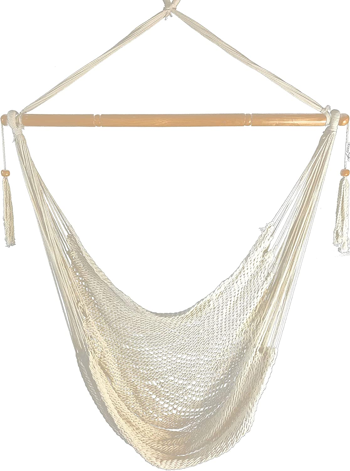 Krazy Outdoors Large Hammock Chair Mayan Style - Natural White - 300 lbs Weight Capacity
