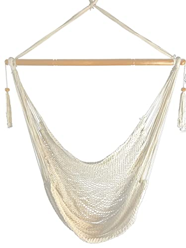 Krazy Outdoors Mayan Hammock Chair – Large Cotton Rope Hanging Chair Swing with Wood Bar – Comfortable, Lightweight – for Indoor Outdoor Porch, Yard, Patio and Bedroom Natural White
