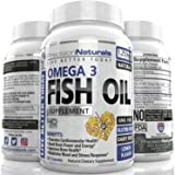 Fish Oil Omega 3 Vitamin/EPA and DHA Supplement 120 Count Capsules/Softgels 1250mg Pharmaceutical Grade Simply the Best Triple Strength Fish Oil With Natural Lemon Flavor