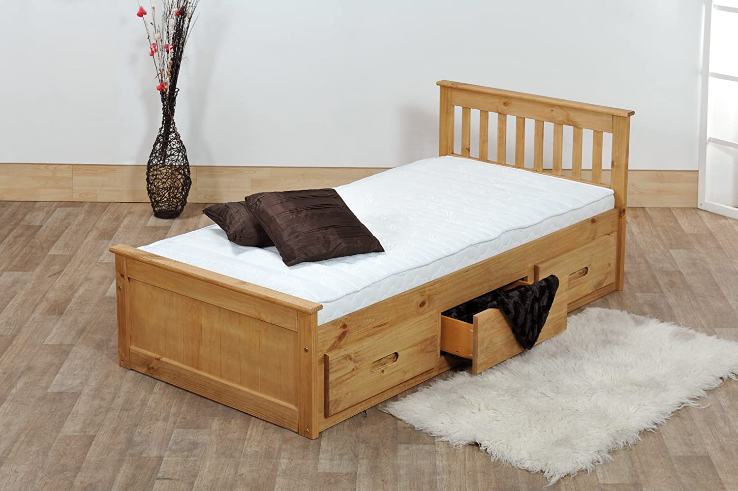 Single bed frame with drawers - 3ft Single Captain Cabin Storage Solid Pine Wooden Bed Bedframe Waxed Pine Finish Made From High Quality Brazilian Sustainable Pine Amazon Co Uk