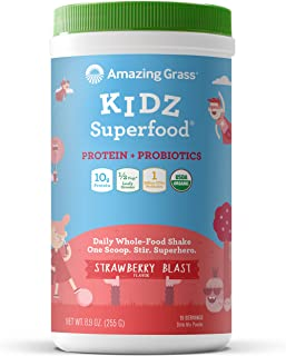 product image for Amazing Grass Kidz Superfood: Vegan Protein & Probiotics for Kids with 1/2 Cupt of Leafy Greens, Strawberry Blast, 15 Servings