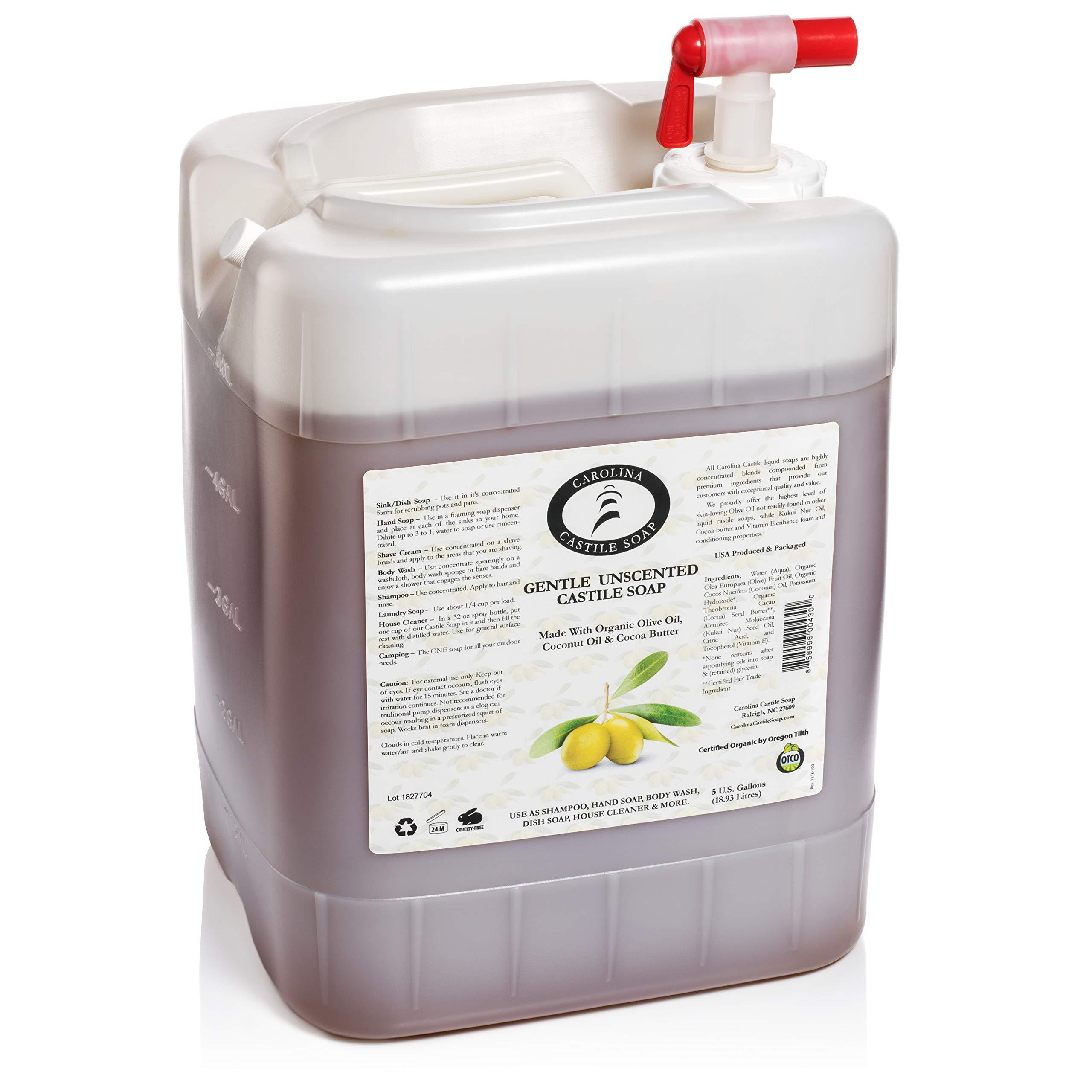 Gentle Unscented Castile Soap 5 Gallon Jug | Certified Organic