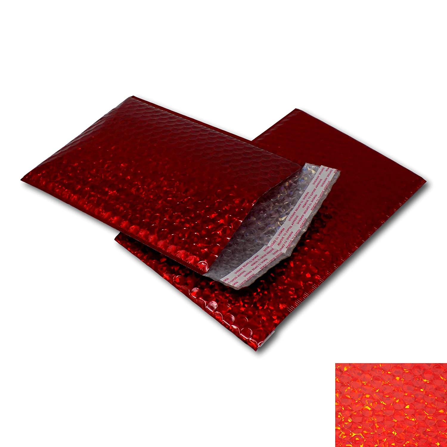 EPOSGEAR 10 Pack Red Holographic Metallic Gloss Foil Padded Bubble Mailing Gift Postal Bag Envelopes - Perfect for mailing or as an alternative to gift wrap for Christmas, Birthdays etc (165mm x 165mm - CD)