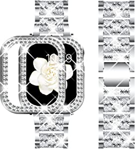 DABAOZA Compatible Apple Watch Band 38mm with Case, Bling Women Girl Dressy Crystal Band with Shiny Protective Bling Bumper Frame Cover for iWatch Series 3/2/1 (Silver, 38mm)