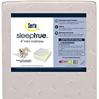 Serta SleepTrue 4-Inch Mini Crib Mattress – Waterproof – GREENGUARD Gold Certified – 10 Year Warranty – Made in The USA