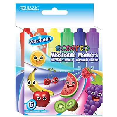 BAZIC 6 Color Washable Fruit Scented Markers, Chisel Tip Assorted Colors Watercolor, Gift for Kids School Art Coloring Drawing (Box of 24) : Office Products
