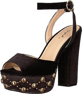 55b712712ba3 Qupid Women s Chunky Heeled with Studded Platform Sandal